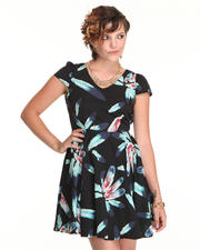 Dresses - Feather Print Dress with open back detail
