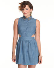 Dresses - Short Sleeve Chambray Dress w/side cutouts