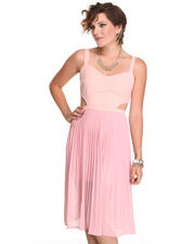 Dresses - Pleated Dress with side cutouts
