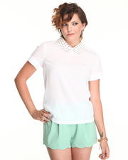 Blouses - Short Sleeve Studded Collar Top