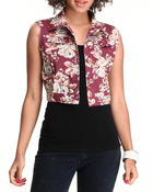 Outerwear - Floral Denim Vest