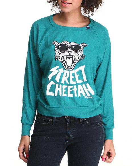 LRG Women Green Street Cheetah Crewneck Sweatshirt