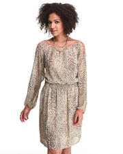 Dresses - Contrast Cold Shoulder Cheetah Print Dress