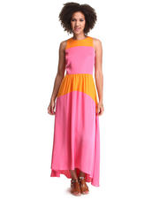 Dresses - High Low Color Block Maxi Dress