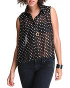 Polos & Button-Downs - Tanya Polka Dot Hi-Low