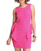 Fashion Lab Women Sleeveless Dress With Peplum Sleeve Detail Pink Large