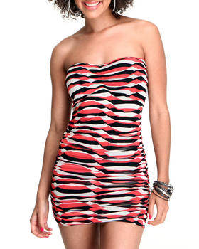 Fashion Lab - Exposed Back Zipper Strapless Dress