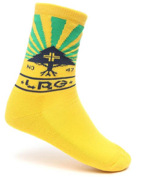 LRG Men Yellow Sunshower Crew Socks
