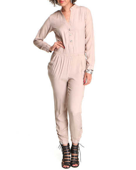 Basic Essentials Women Beige Stephanie Fold Over Romper