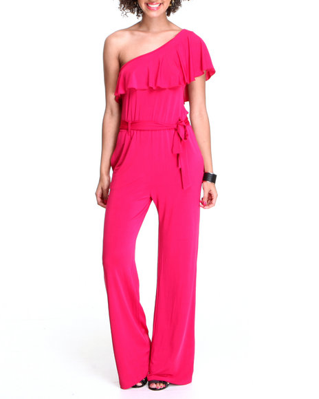 Fashion Lab Women Pink Raspberry Beret Jumpsuit