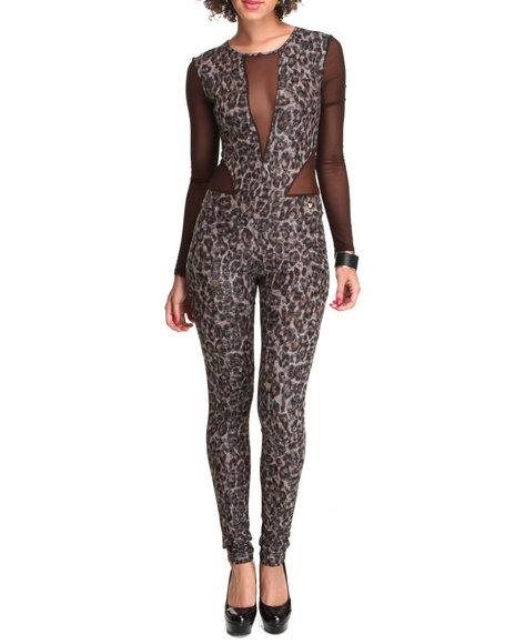 Apple Bottoms Women Animal Print Sexy Sheer Insets Animal Jumpsuit