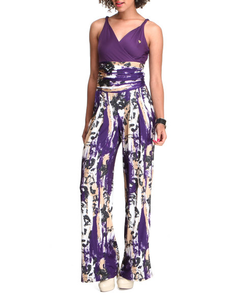 Apple Bottoms Women Multi,Purple All-Over Printed Sexy Jumpsuit