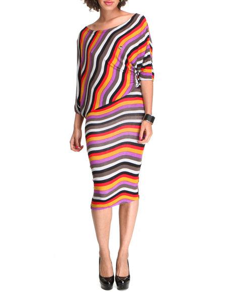 Apple Bottoms - Women Red Bias Cut Striped Midi Dress