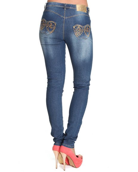 Apple Bottoms - Women Blue Gold Embroidery Pocket Skinny Jean