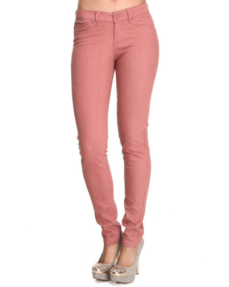 Basic Essentials - Women Pink Basic Skinny Jean With Stretch