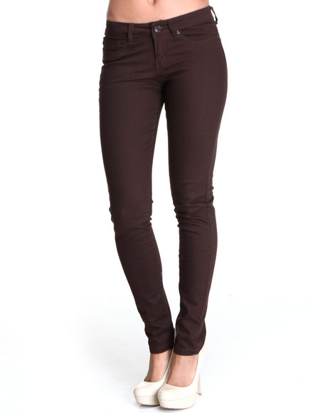Basic Essentials - Women Brown Basic Stretch Skinny Jean With Tonal Hardwear