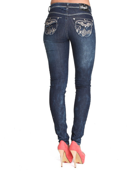 Apple Bottoms Women Dark Wash Peggy Acid Wash Skinny Jean