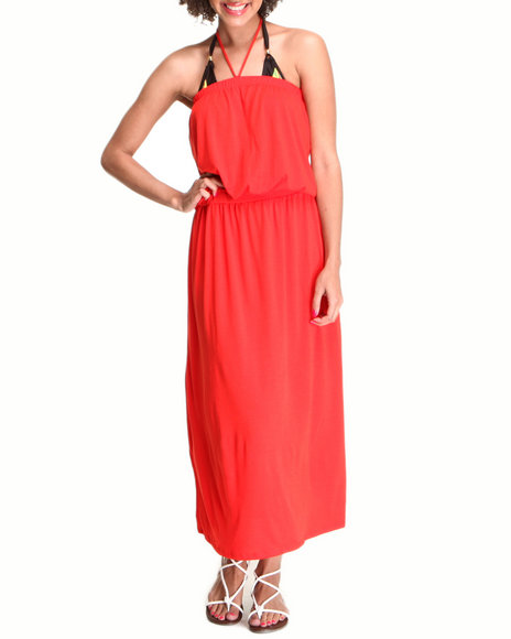 COOGI - Women Dark Orange, Red Tube Swimsuit Coverup Maxi Dress