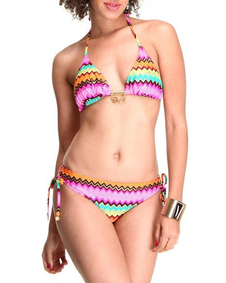 COOGI Women Multi Luxe Triangle Top Bikini Swimsuit Set