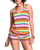 Women - Racer Back Swimsuit Romper Coverup