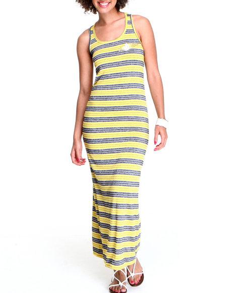 Apple Bottoms Women Yellow Striped Maxi Twisted Back Dress