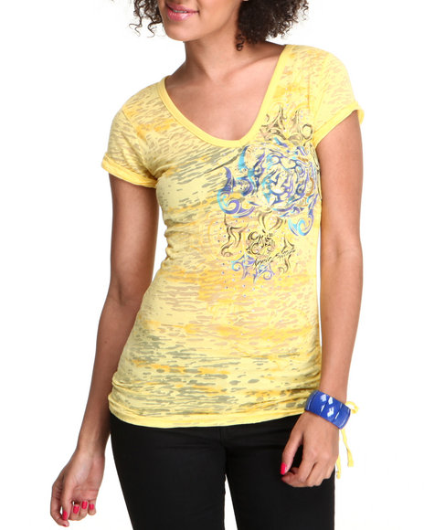 Apple Bottoms Women Yellow Burnout Side Pull Tunic Tee