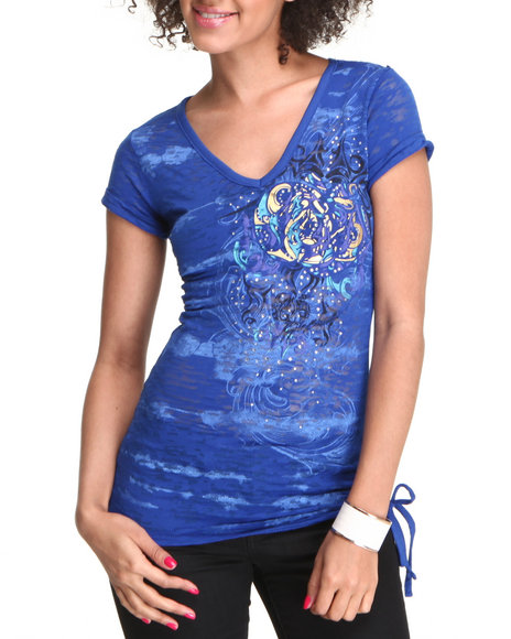 Apple Bottoms Women Blue Burnout Side Pull Tunic Tee