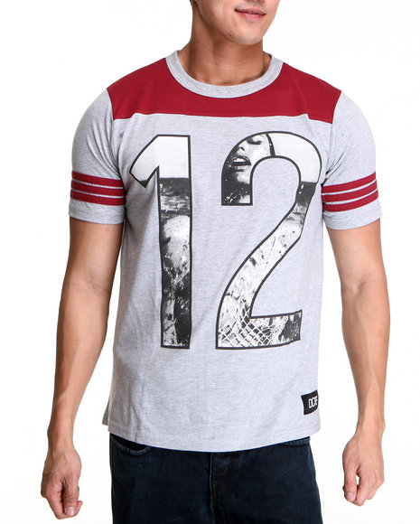 DOPE Crimson,Grey Homme Team Football Tee
