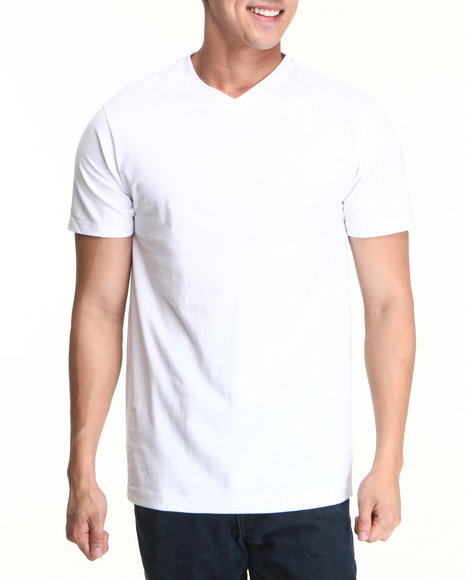 Basic Essentials Men White Plain Short Sleeve V-Neck Tee