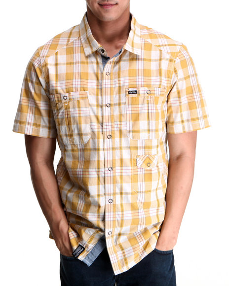 LRG Men Off White,Yellow Up Rise S/S Button-Down