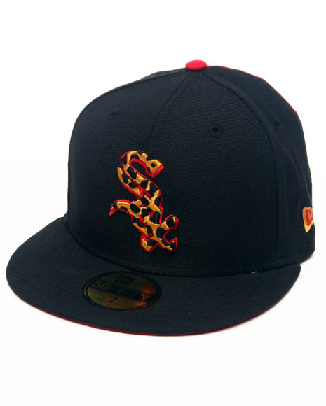 New Era - Men Black,Red Chicago White Sox Leopard Print Logo Custom 5950 Fitted Hat (Drjays.Com Exclusive)