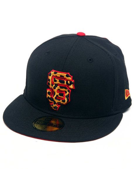 New Era Men Black,Red San Francisco Leopard Print Logo Custom 5950 Fitted Hat (Drjays.Com Exclusive)