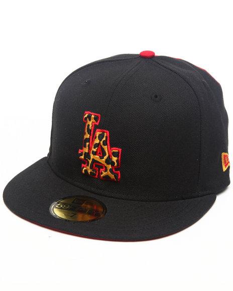 New Era - Men Black Los Angeles Dodgers Leopard Print Logo Custom 5950 Fitted Hat (Drjays.Com Exclusive) - $15.99