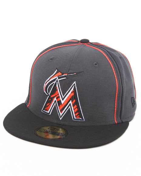 New Era - Men Grey Miami Marlins Tiger Print Custom 5950 Fitted Hat (Drjays.Com Exclusive)