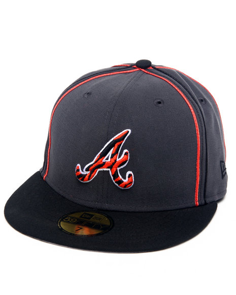 New Era - Men Charcoal,Black Atlanta Braves Tiger Print Custom 5950 Fitted Hat (Drjays.Com Exclusive)