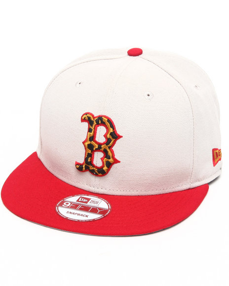 New Era Men Boston Red Sox White/ Leopard Print Logo Custom Snapback Off White