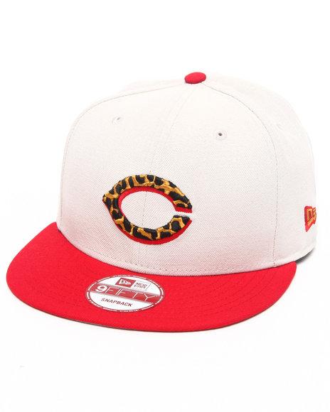 New Era - Cincinnati Reds White/ Leopard Print Logo Custom snapback hat (Drjays.com Exclusive)