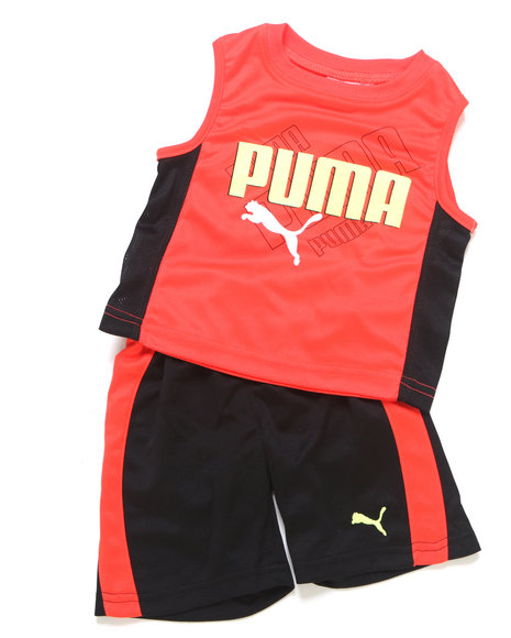 Puma Boys Red 2 Pc Ombre Muscle Set (2T-4T)