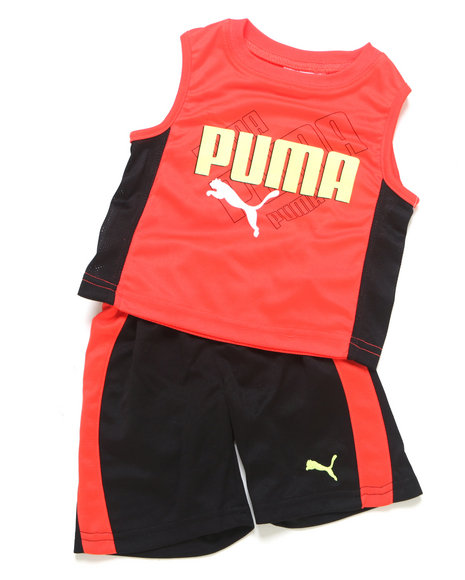Puma Boys Red 2 Pc Ombre Muscle Set (Infant)