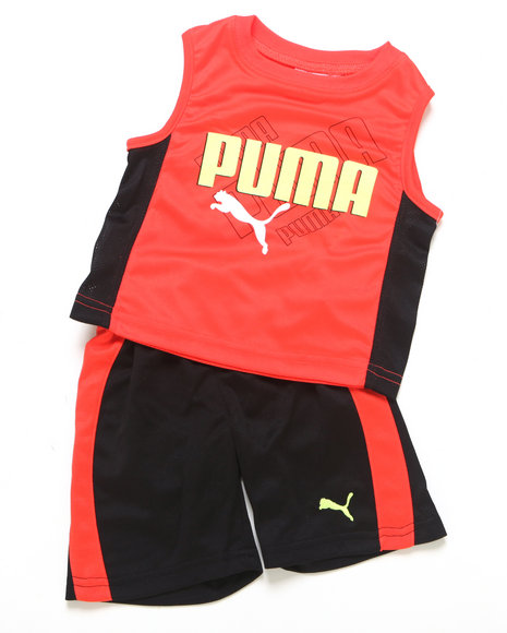 Puma Boys Red 2 Pc Ombre Muscle Set (Newborn)