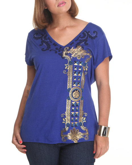 Apple Bottoms Women Blue Double V Side Ruched Tee (Plus Size)