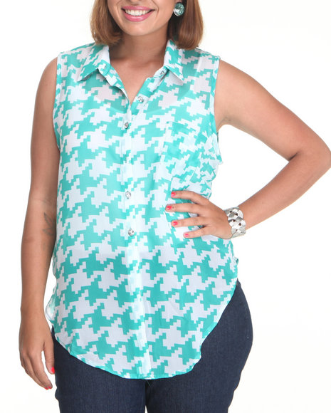 Fashion Lab Women Teal Kit Kat Symetric Print Tie Front Chiffon Top (Plus)