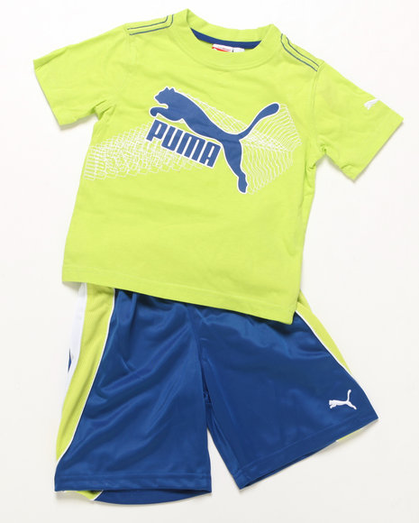 Puma Boys Lime Green,Blue 2 Pc Outline Set (2T-4T)