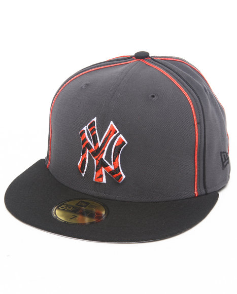 New Era - Men Grey New York Yankees Tiger Print Custom 5950 Fitted Hat (Drjays.Com Exclusive)