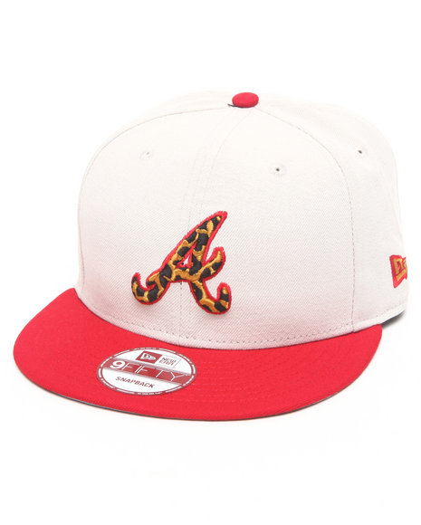 New Era Atlanta Braves White/ Leopard Print Logo Custom Snapback Off White