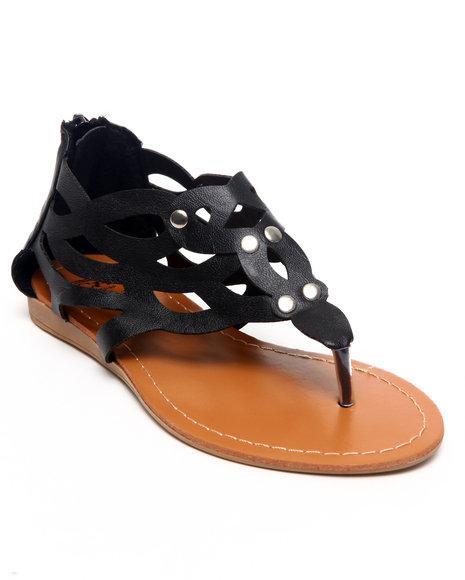 La Galleria Girls Black Laser Cut Sandal