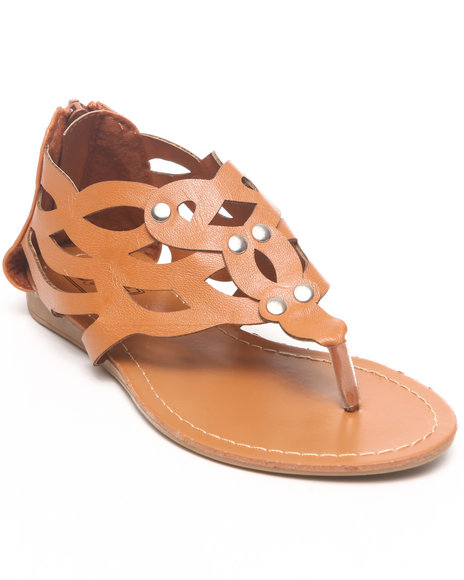 La Galleria Girls Tan Laser Cut Sandal