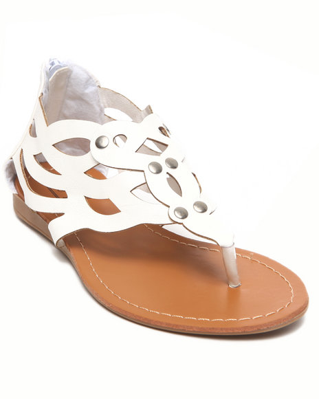 La Galleria Girls White Laser Cut Sandal