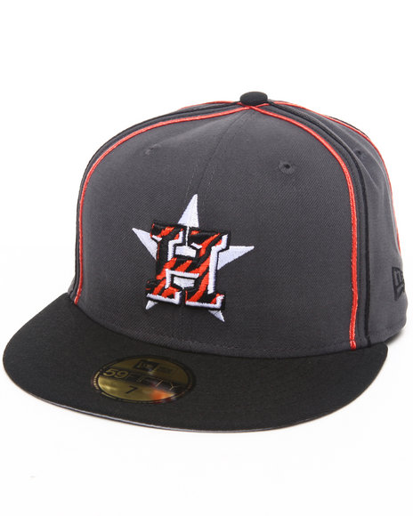 New Era Grey Houston Astros Tiger Print Custom 5950 Fitted Hat (Drjays.Com Exclusive)