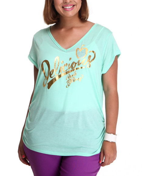 Apple Bottoms Women Gold,Green,Teal Delicious Logo V-Neck Tee (Plus Size)